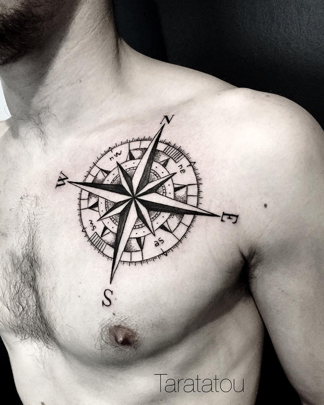 Tatouage homme torse -  Tattoo Tatouage Rosedesvents Boussole Compass Torse Homme Paris