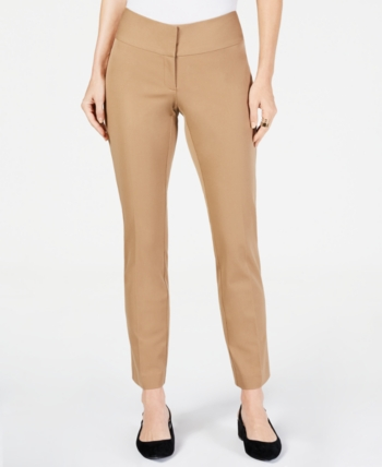 Beige, 14 Alfani Women`s 5 Pocket Cotton Comfort Waist Skinny Leg Pants