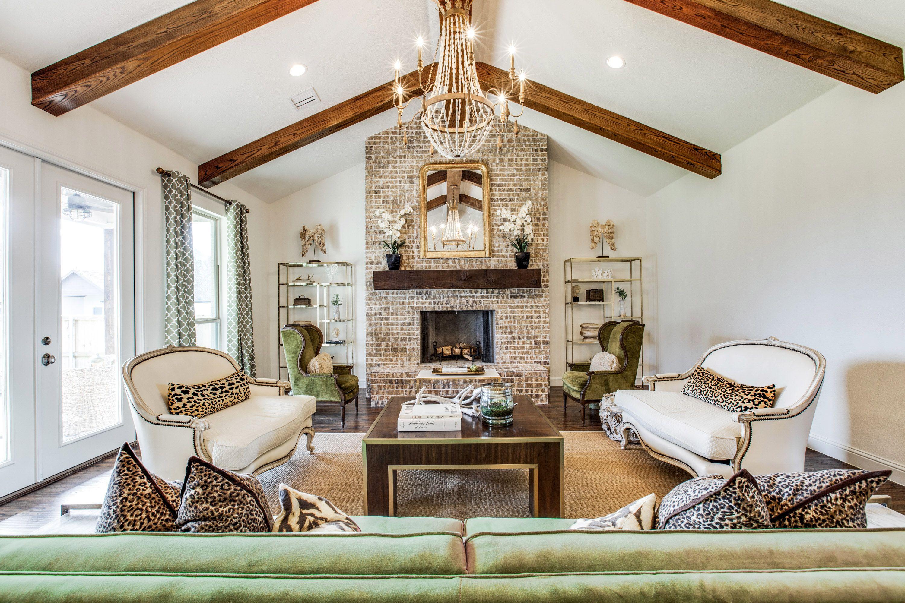 Aledo home vaulted ceiling floor to ceiling brick - Floor to ceiling brick fireplace makeover ...