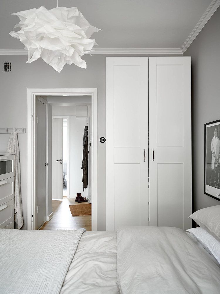 Small Bedroom Light Grey And White White Wall Bedroom Gray