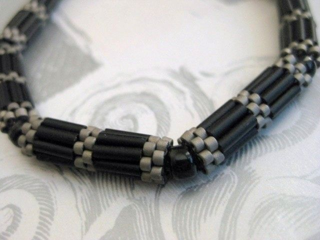 Bracelet with Peyote Tubes - never thought about this combination :)