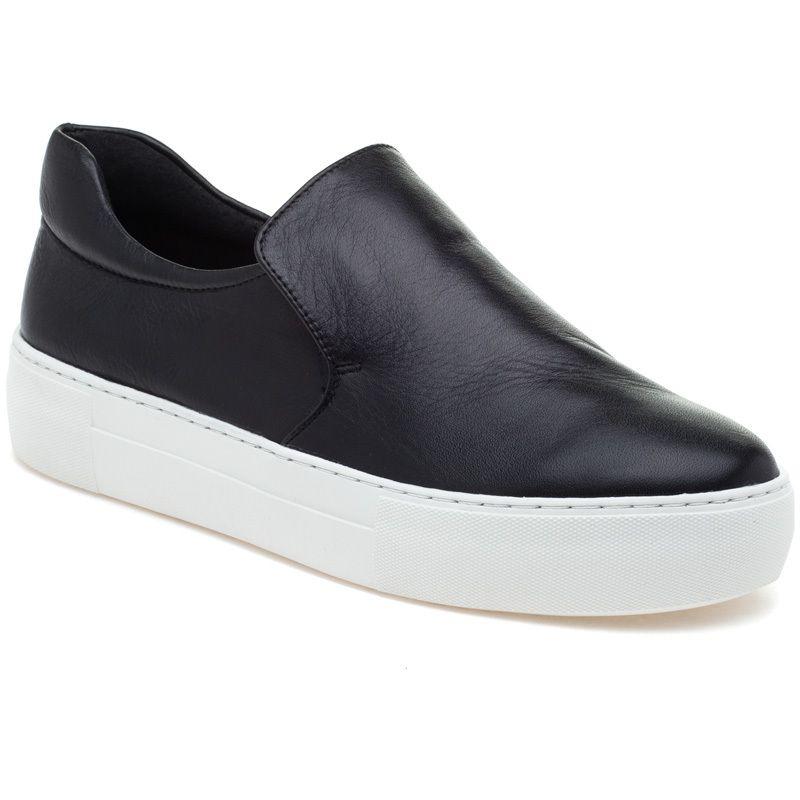 JSlides ACER Black Leather Sneaker