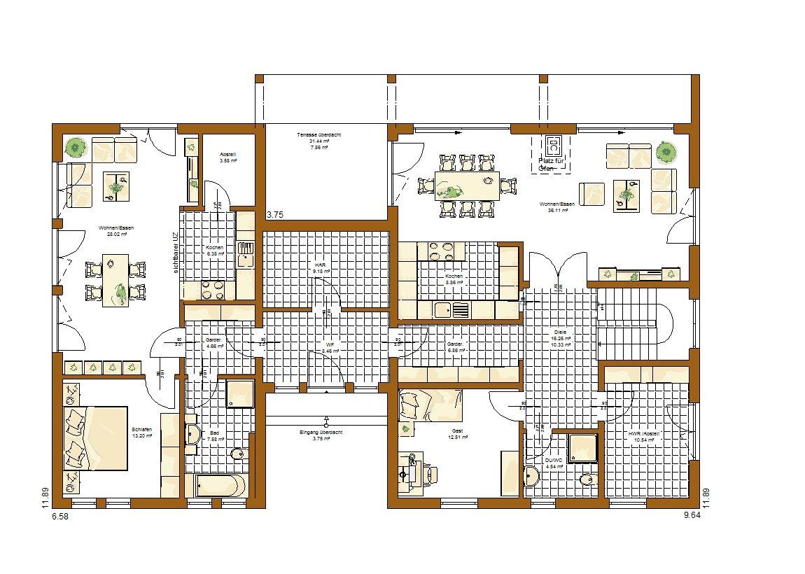 Genua Grundriss Erdgeschoss Haus mit einliegerwohnung
