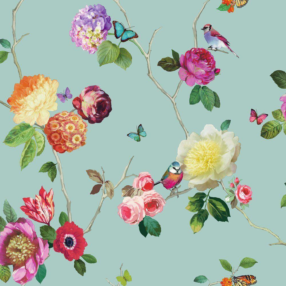 Arthouse Arthouse Charmed Flower Pattern Bird Butterfly Rose Floral Motif Wallpaper 889800 Paineis Pintados Estampas Tapetes