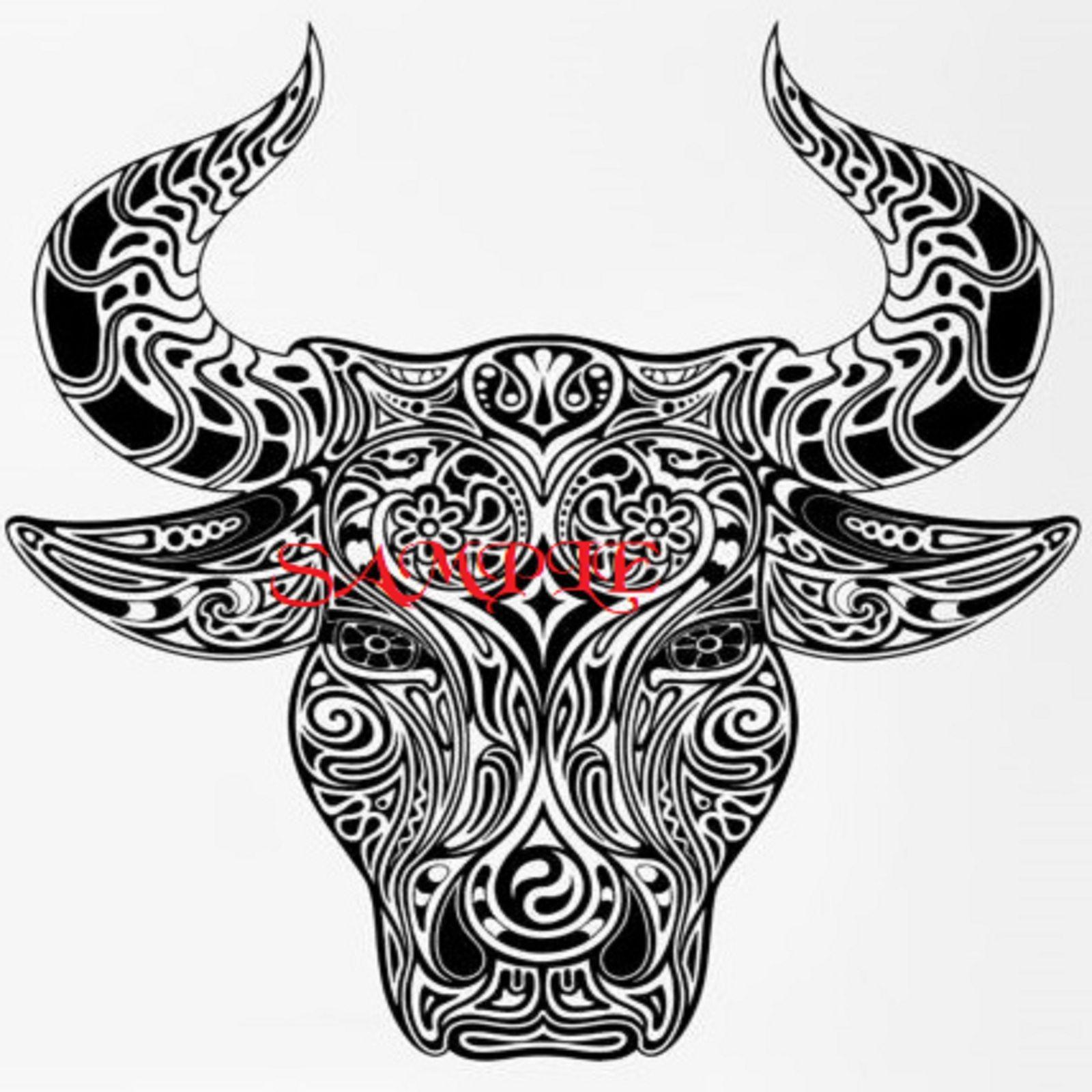 Tribal Bull Head Single Colour Wild Animals Pdf Cross Stitch Chart Bull Tattoos Maori Tattoo Taurus Tattoos
