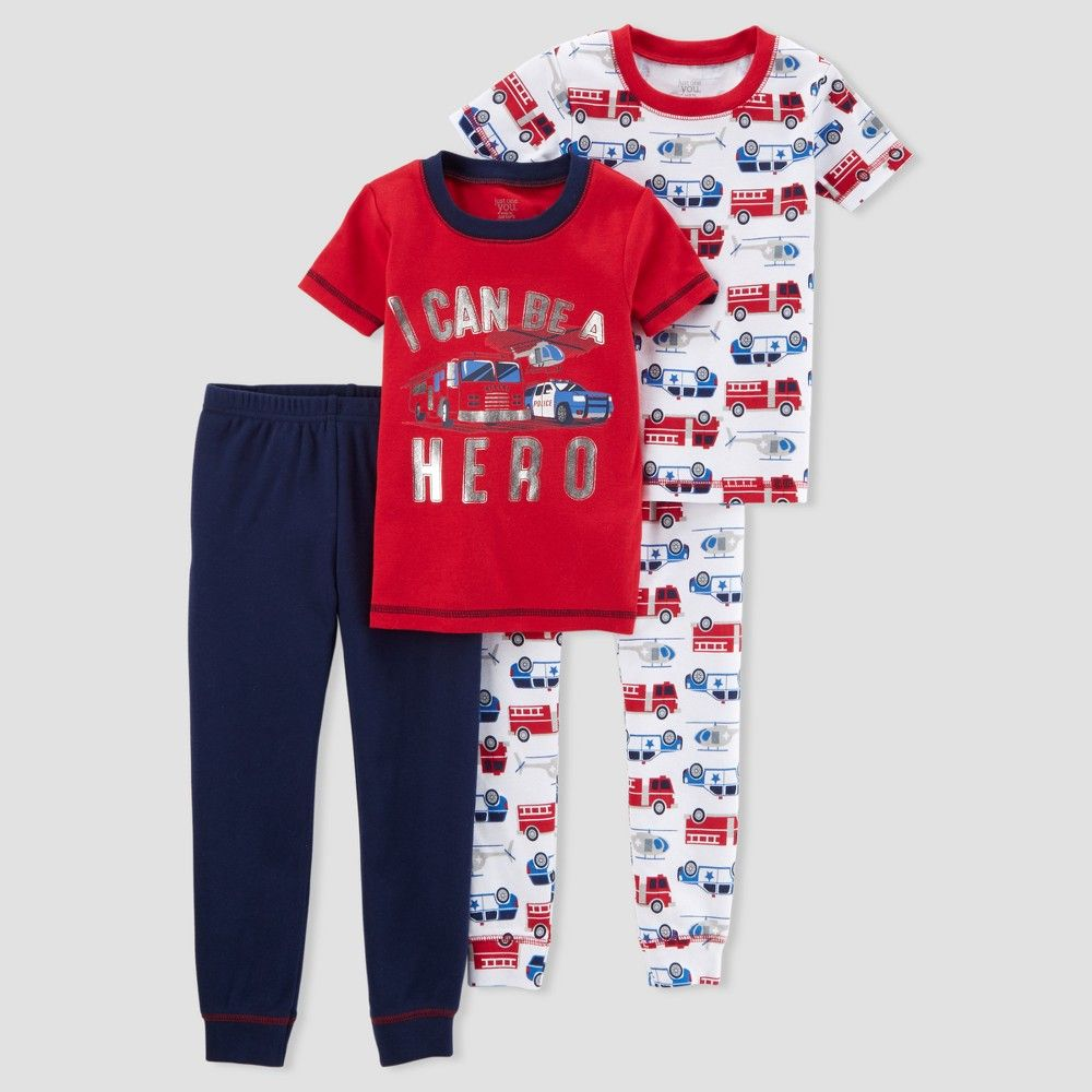 Baby Boys 4pc Hero Firetruck Pajama Set Just One You Made By Carter S Red 9m With Images Pajama Set Red Carter Cotton Pajama Sets