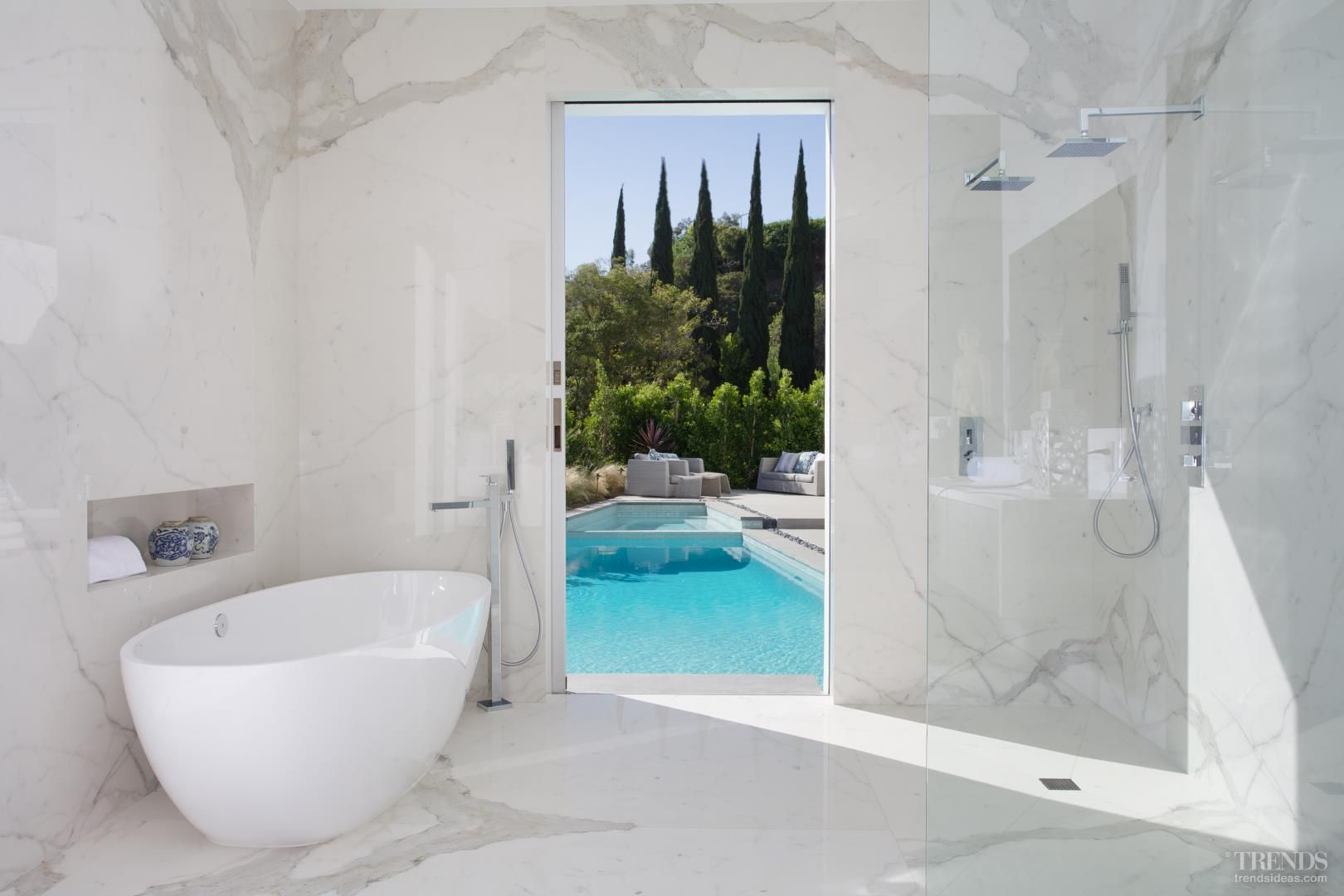 Mid-century Modern house makeover with white exterior opens to pool ...