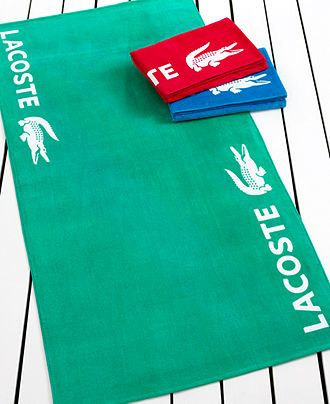 lacoste towels, croc logo beach towel - lacoste - bed & bath