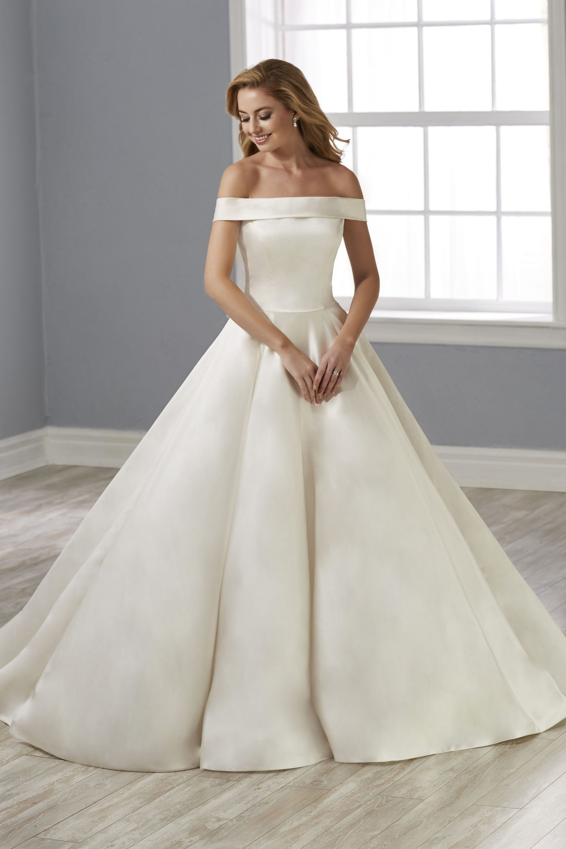 Novia Collection By House Of Wu 38020 Off The Shoulder Bridal Gown In 2021 Silk Wedding Dress Ballgown Wedding Dresses Satin Satin Wedding Gown [ 2880 x 1920 Pixel ]