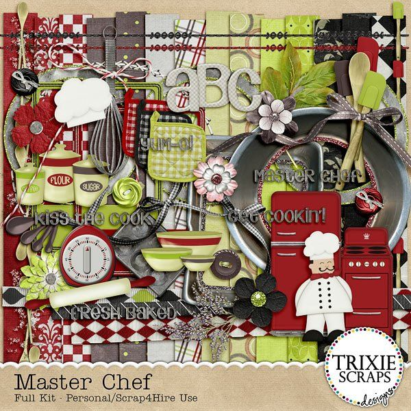 Master chef digital scrapbooking kit cooking recipes