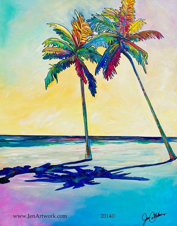 Lazy Days, Palm Tree Art by Jen Callahan Tile, Cuttingboard, Canvas ...