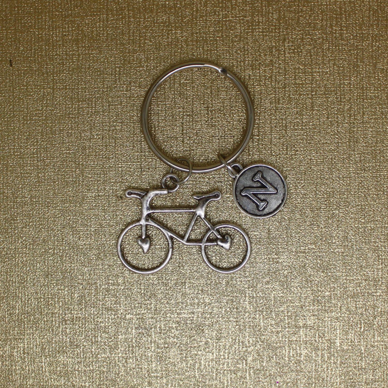 Bicycle Keychain Initial Keychain Silver Bike Traveler Gift