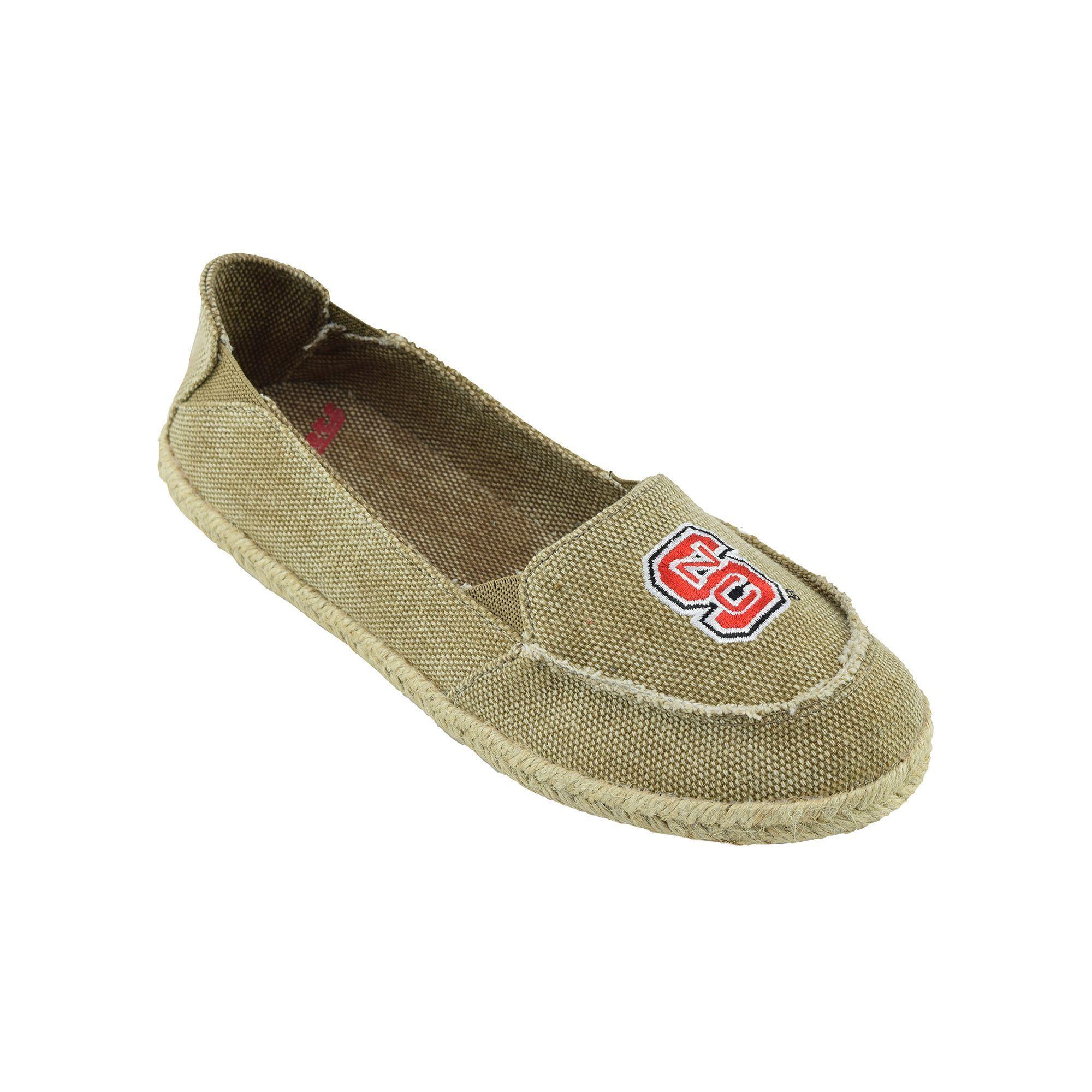 Women's Campus Cruzerz North Carolina State Wolfpack Cabo Slip-On Shoes, Girl's, Size: 6, Beig/Green (Beig/Khaki)