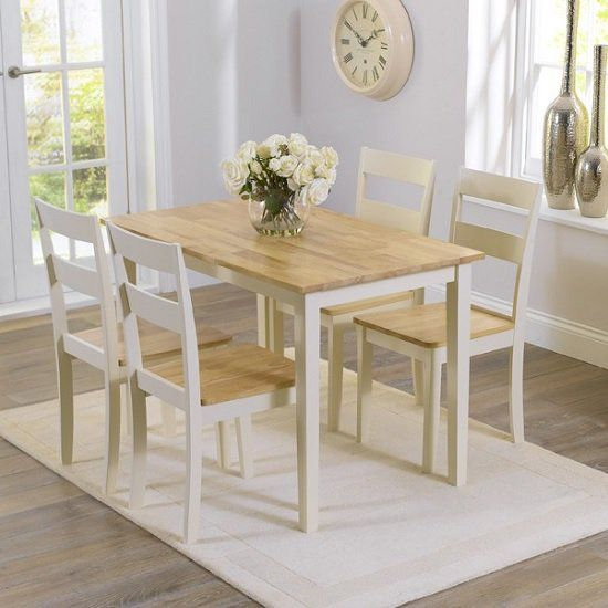 Bremen Dining Table In Oak And Cream With 4 Dining Chairs images