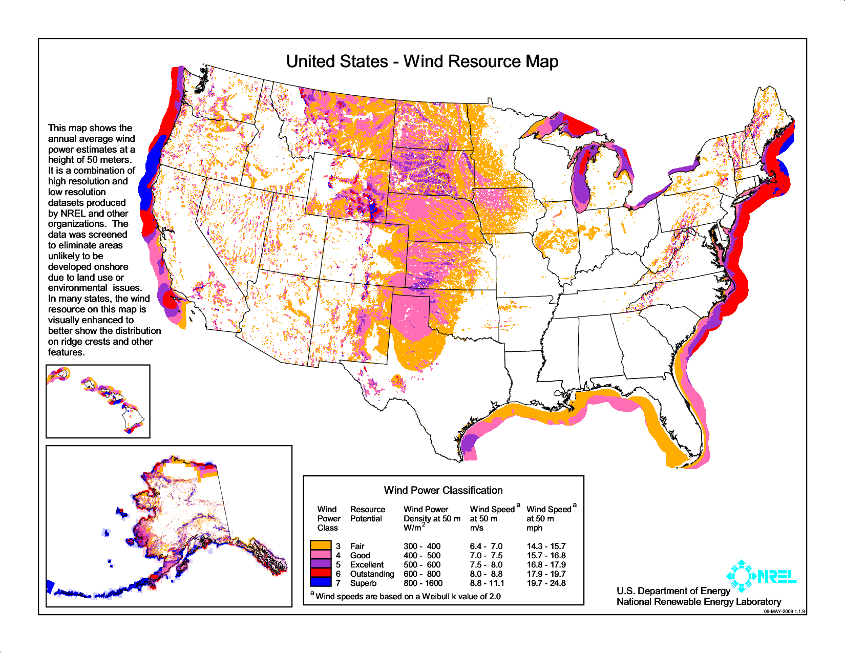 Wind Resource Map Us Department Of Energy National Renewable Energy Laboratory What Is Wind Energy What Is Wind Wind Energy Facts