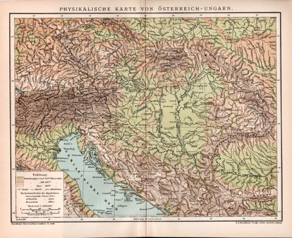 AustroHungarian Empire Physical Map Antique By Craftissimo - Austria physical map