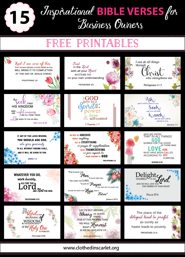 15 inspirational bible verses for business owners free printables 15 inspirational bible verses for business owners download the free printable bible cards here bible printables reheart Choice Image