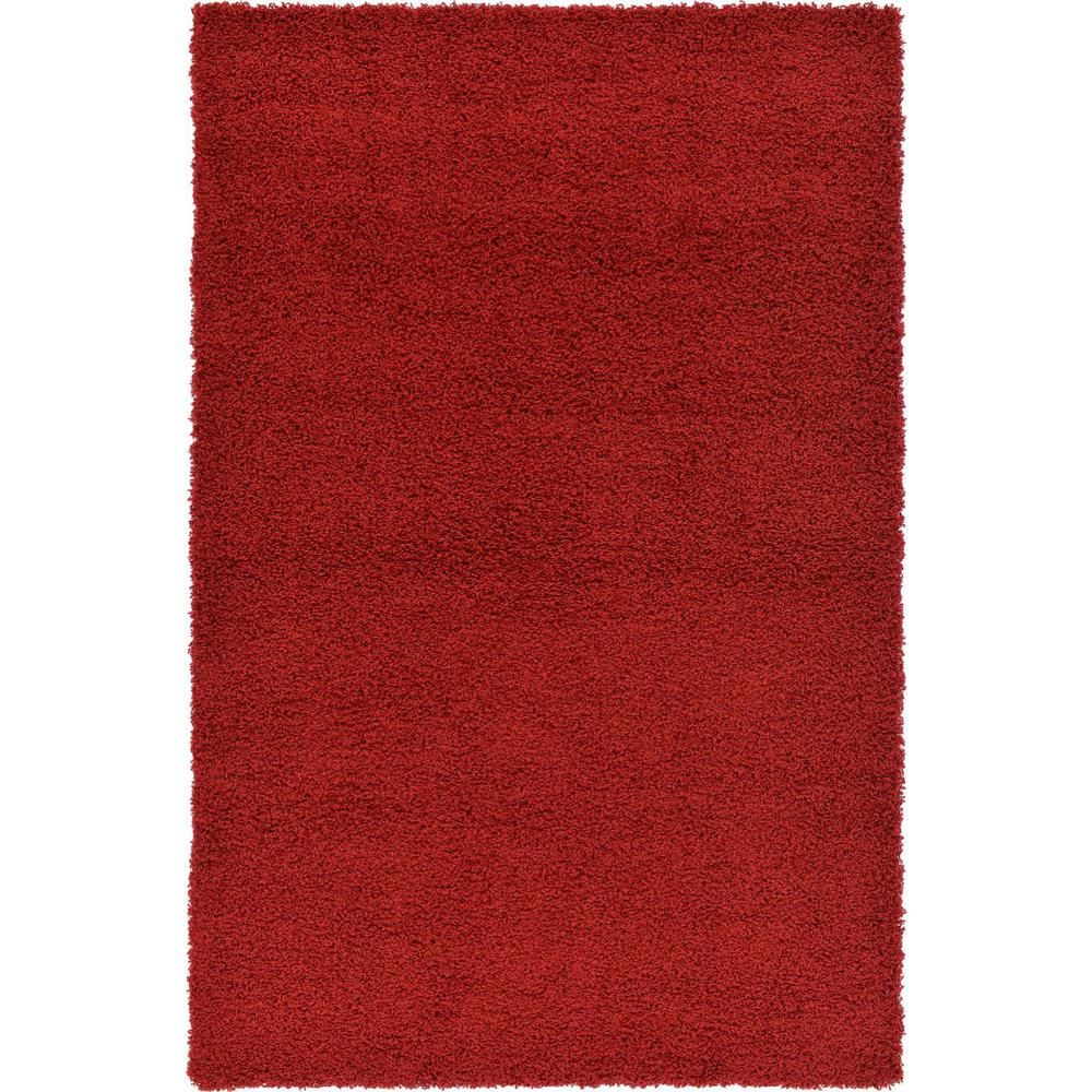 Unique Loom Solid Shag Cherry Red 4 Ft X 6 Ft Area Rug