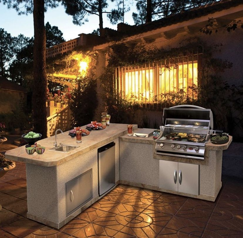 The Cal Flame 4 Burner Convection Grill Offers Exclusive Convection Technology On A Roomy 4 Burner Diy Outdoor Kitchen Backyard Kitchen Outdoor Kitchen Design