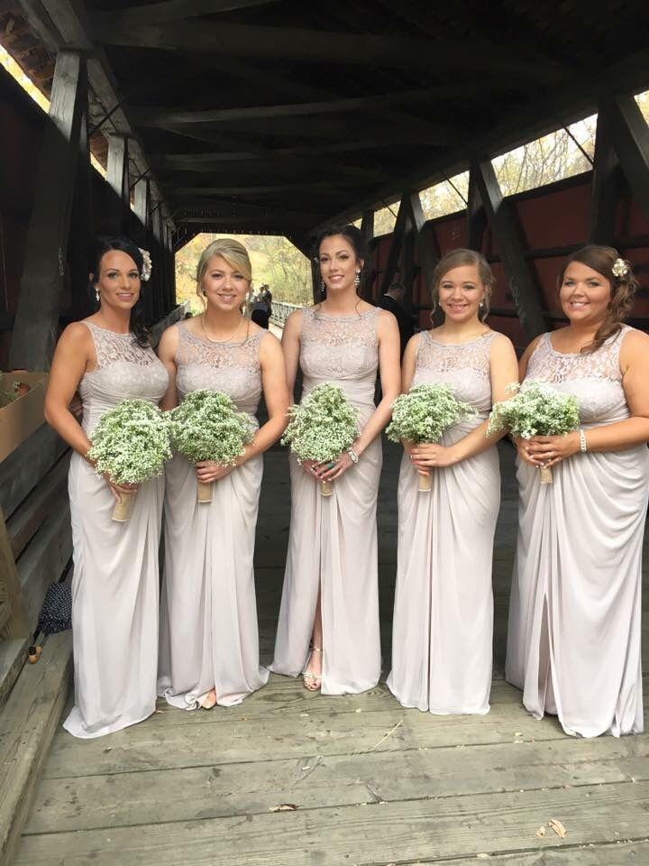 Beautiful Biscotti Bridesmaid Dresses And Diy Babysbreath Bouquets