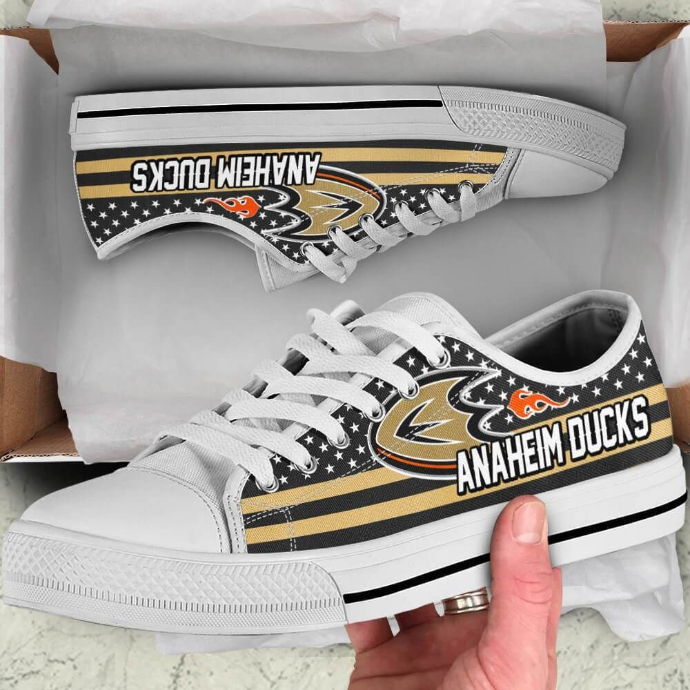Anaheim Ducks Legend Since 1993 NHL Hockey Teams Black Low Top Shoes - Potatotee Store     Shipping