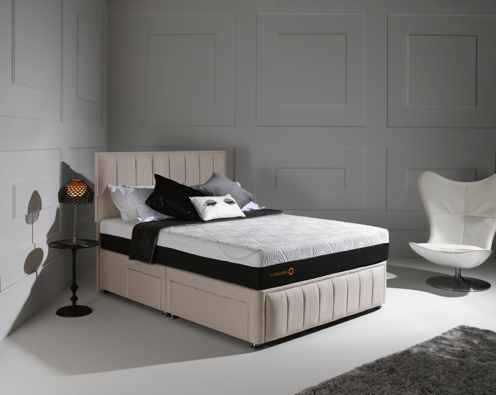 octaspring roma fabric divan bed with 8000 mattress dormeo
