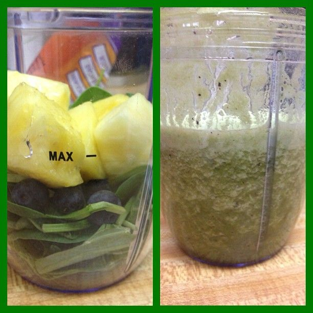 Im hungry but I can wait so Im having this #now #green #smoothie #nutribullet #collardgreens #spinach #blueberries #pinapple #nutriblast