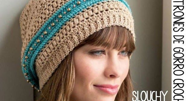 Gorro tejido con cuentas - Slouchy Beanie Crochet | Bufandas e ...