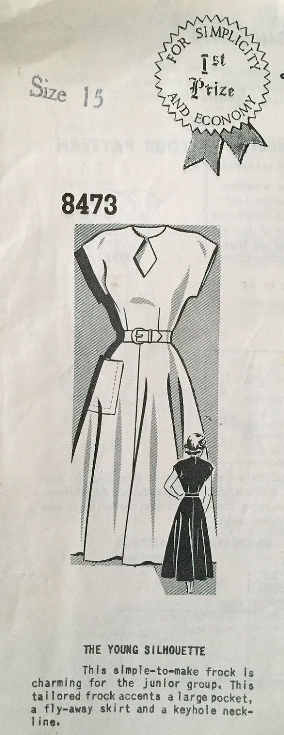 Great vintage misses dress pattern by Sue Burnett (mail order) circa 1940s or 50s, pattern no. 8473. This simple-to-make frock is charming for
