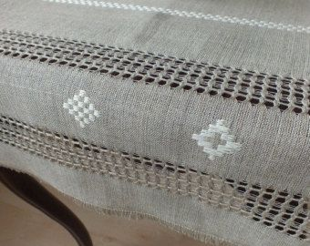 Decorative table Runner- Vintage hand woven linen table runner - Natural gray linen runner - Eco friendly flax runner - Rustic home decor