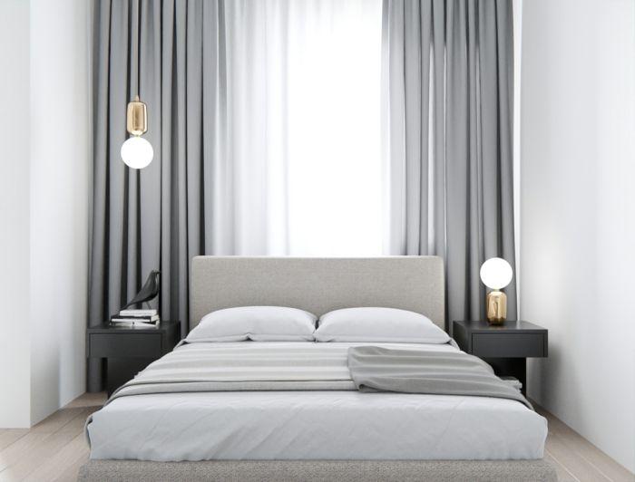 Zwei Graue Vorhänge, Ein Weißes Bett, Schlafzimmer Inspiration Für  Minimalistische Gestaltung