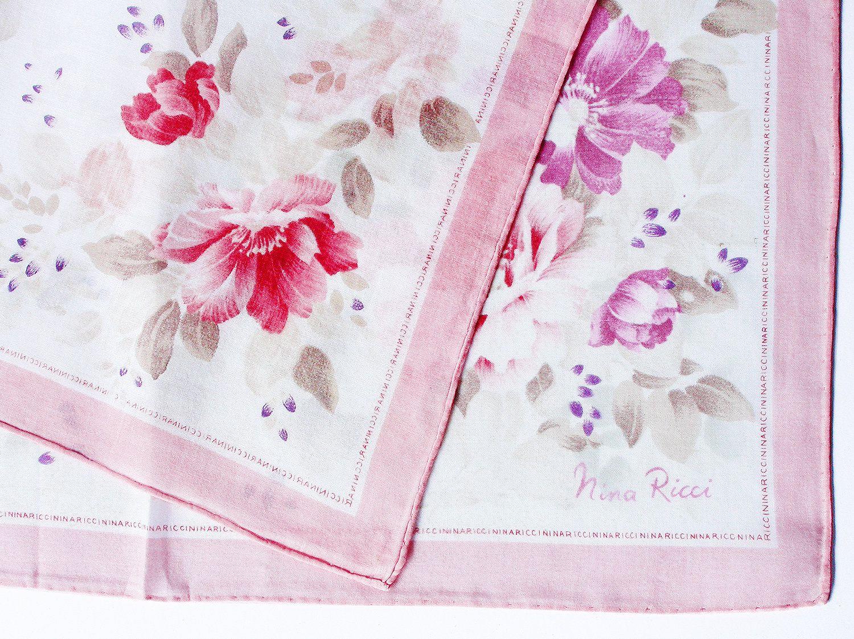 NINA RICCI Vintage Handkerchief 18\u201dx18\u201d Cotton