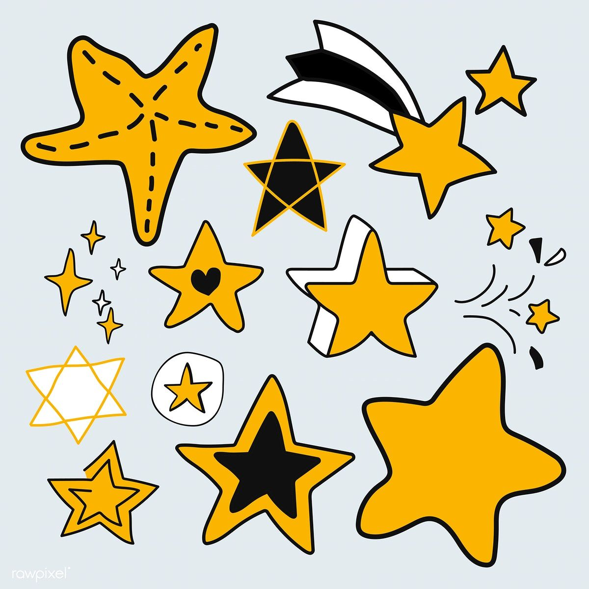 Hand Drawn Yellow Star Vectors Collection Free Image By Rawpixel Com Adj How To Draw Hands Free Hand Drawing Vector Free