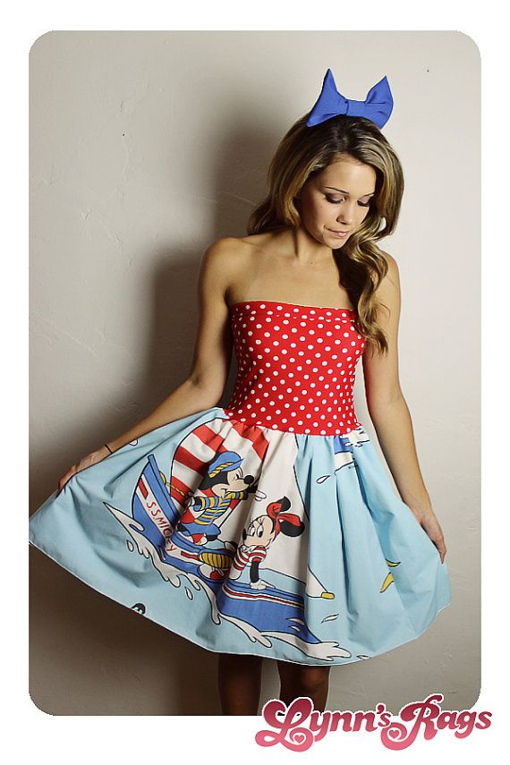 sailor disney mickey minnie mouse dress bow handmade