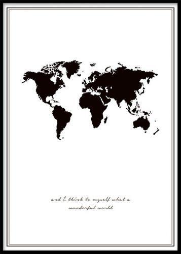 Wonderful World Plakat Verdenskort Plakater Smukke Tegninger