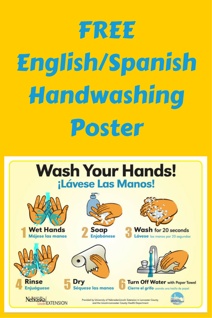 FREE English / Spanish Handwashing poster - use for daycare, school and  business facilities.