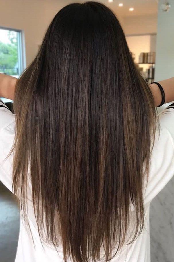 Brunette balayage; glattes Haar ; braune Highlights; lange Haare – Brunette bala…