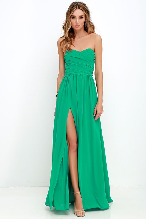 Moonlight Serenade Green Strapless Maxi Dress | Junior fashion ...