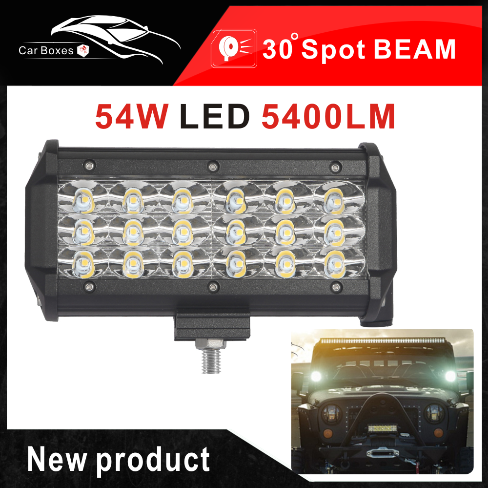 Specification Power 54w 3 Row Led Work Light Bar Number Of Chips 18pcs 3w Cree Leds Luminous Flux Approx 540 Led Work Light Led Light Bars 12v Led Lights