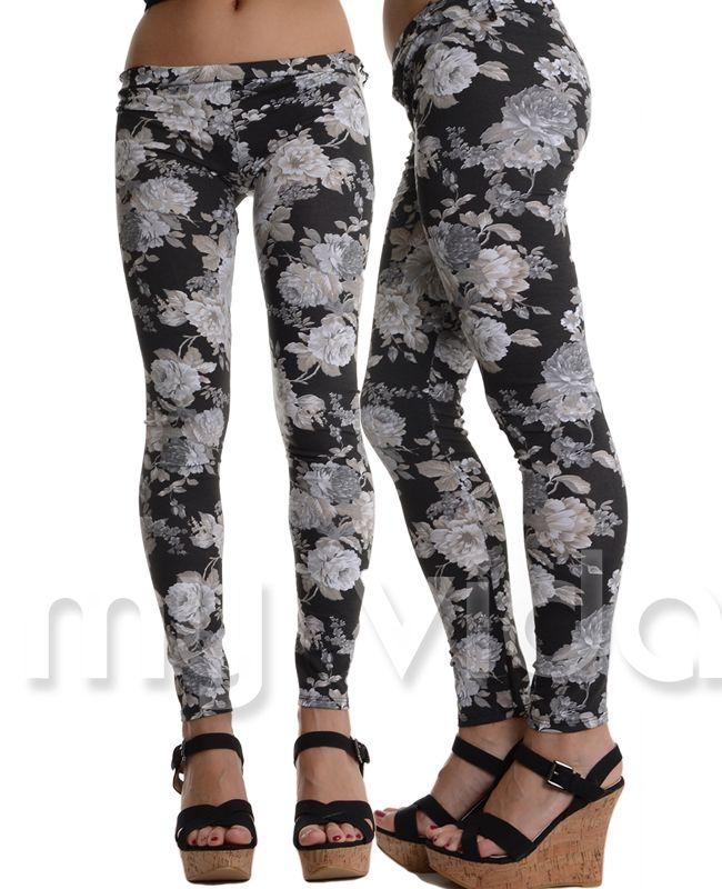 NERO - Leggings donna, fuseaux pantacollant leggins fantasia floreale. Pantaloni donna comodi ideali per uno stile di vita dinamico e comodo. http://goo.gl/5UlvMH