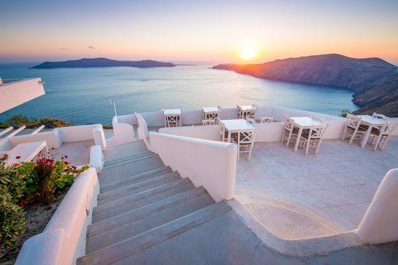 Santorini Sunset Over Oia, Greek Islands Photography, Santorini Print, Greece Photography, Santorini Wall Art