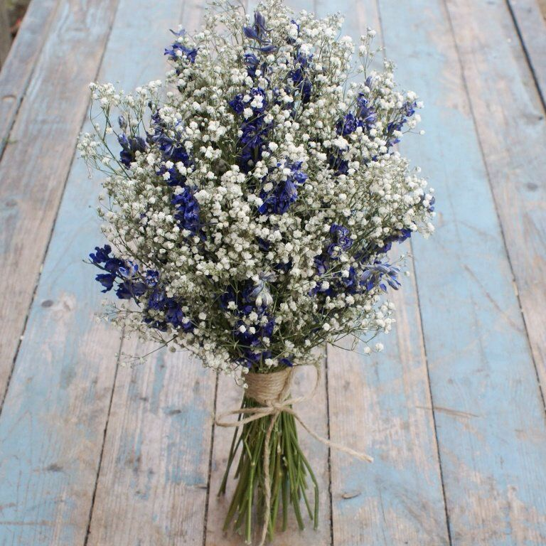 Boho Midnight Dried Flower Wedding Bouquet #flowerbouquetwedding