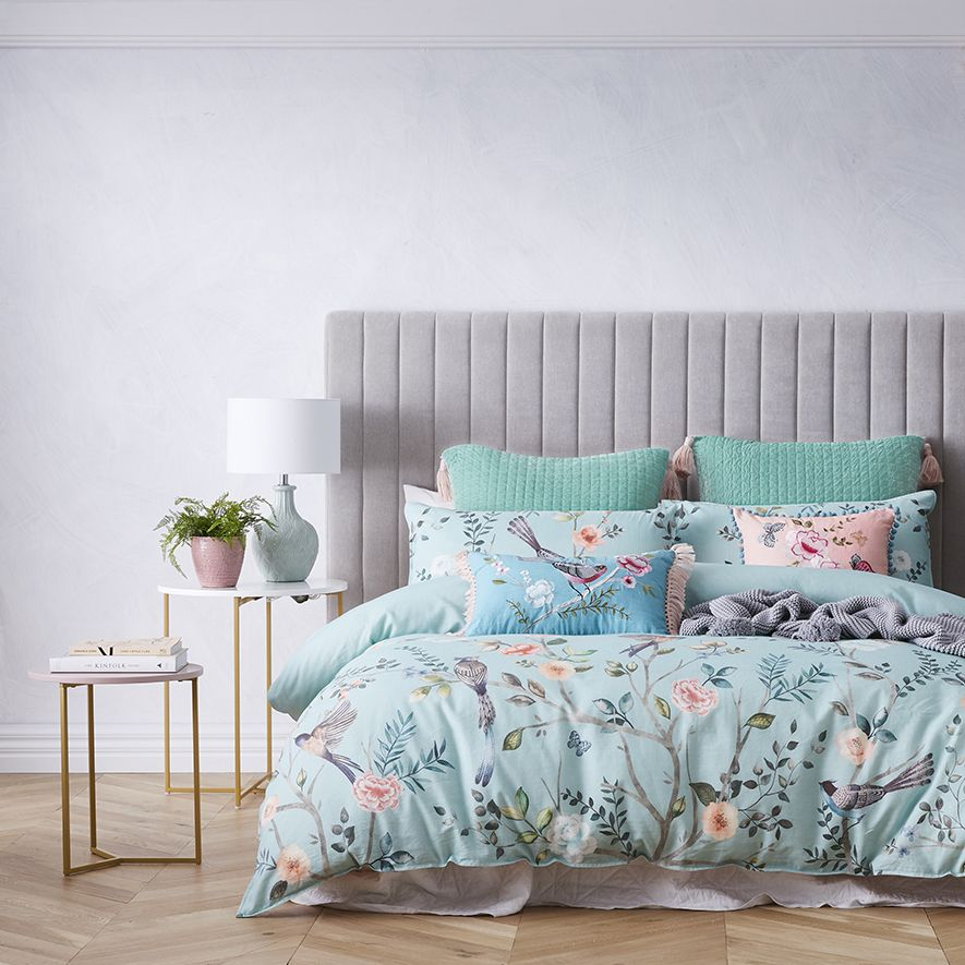 Gorgeous Detailed Florals And Birds Juxtaposed Onto A Duck Egg Blue Background Is The Feature Of The Ch Tiffany Inspired Bedroom Blue Bedroom Decor Quilt Cover