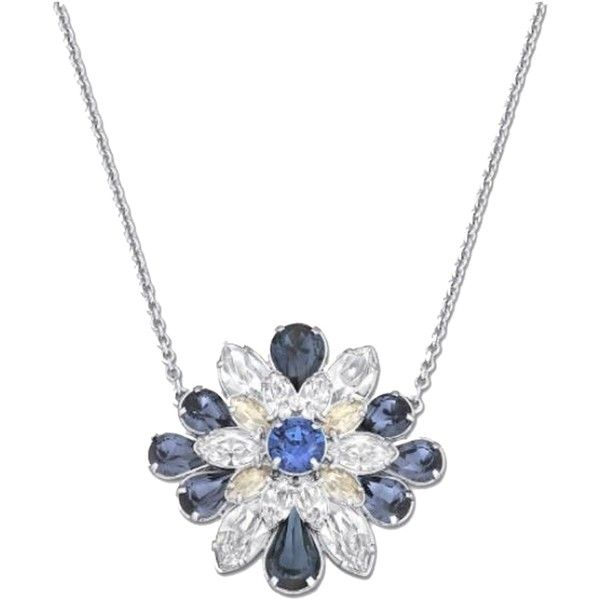 Pre-owned New Genuine  Swarovski Shourouk Round Blue Pendant/necklace ($135) ❤ liked on Polyvore featuring jewelry, necklaces, accessories, blue, floral necklace, swarovski jewelry, blue pendant necklace, summer necklace and round pendant necklace