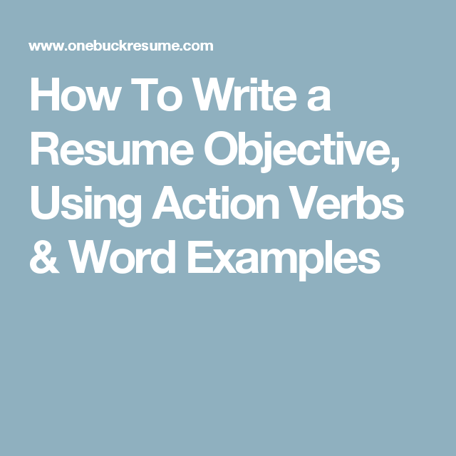 What Does Objective Mean On A Resume How To Write A Resume Objective Using Action Verbs & Word Examples .