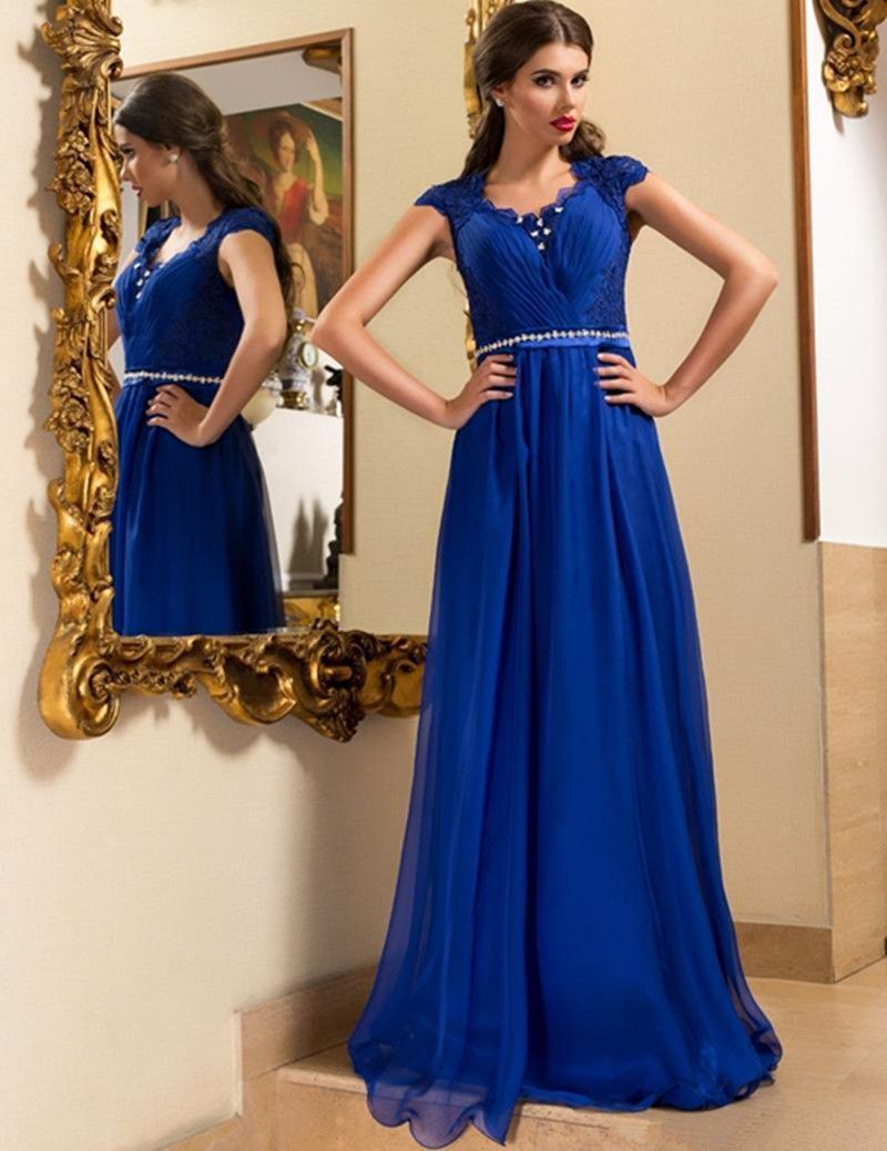 Click to buy ucuc new fahsion royal blue evening dresses cap sleeve