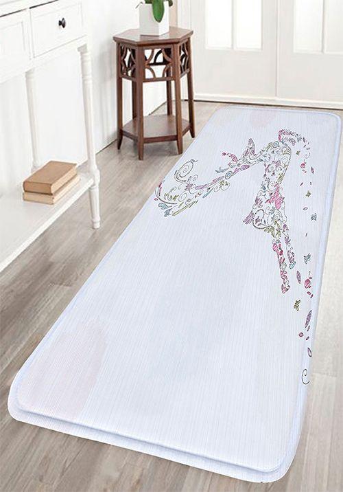 Christmas Deer Print Nonslip Flannel Bath Mat - Quality bath mats for bathroom decorating ideas