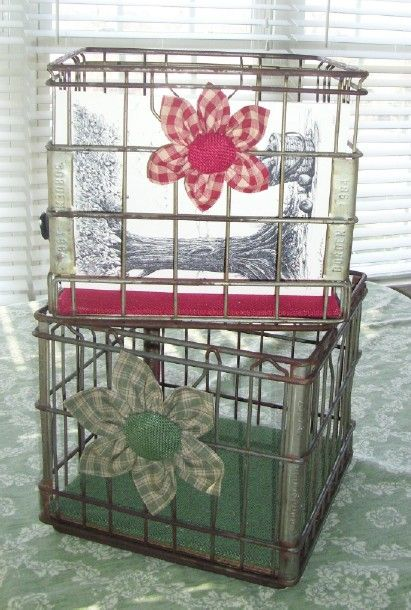 Vintage Metal Milk Crates With A Modern Country Updated Look Get