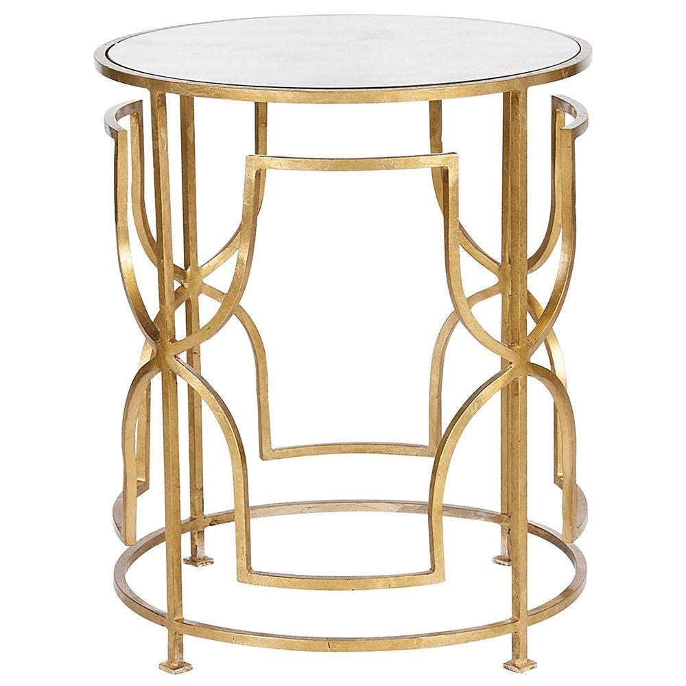 Ornate Round Side Table With Antique Mirror Top Gold Leaf
