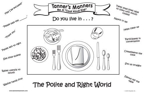 kids table manners coloring pages - photo#31